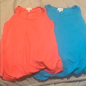 Two LuLaRoe tank tops. Coral and turquoise. XXS